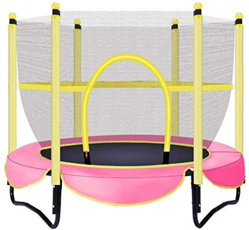 JCCOZ-Trampoline Domestic Trampolin Indoor Trampolin for Kleinkinder mit einem Netto-Sicherheits Tragfähigkeit von 150 kg/Durchmesser 150 cm Trampoline (Color : Pink)