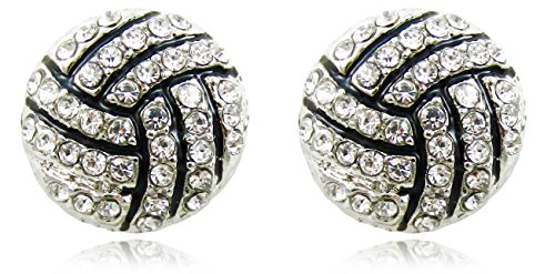 Clear Crystal Volleyball Player Sports Fan Stud Earrings Fashion Jewelry Gift Girls Teens Women