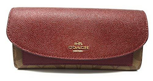 Coach Gift Box Slim Envelope Wallet (Khaki/Metallic Cherry)