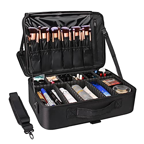 Large Makeup Case,Chomeiu Portable Makeup Backpack Travel Makeup Train Case Cosmetics Organizer With Shoulder Strap Makeup Bag 2 Layer Cosmetic Storage Case 16.5 inches