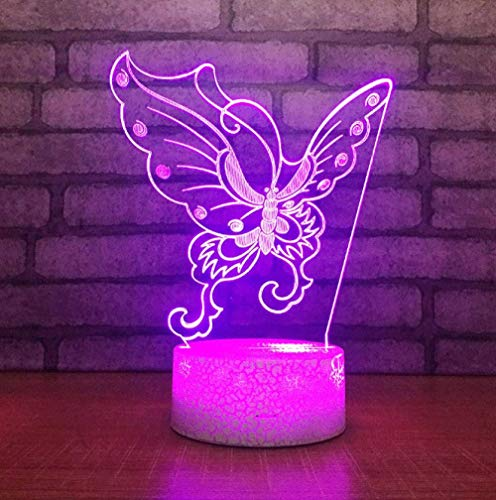 3D Night Light Illusion Lamp Bedside Table Lamp Butterfly Shape 7 Colors Changing Touch Switch Desk Decoration Lamps Birthday Christmas Gift with Acrylic Flat & ABS Base & USB Cable