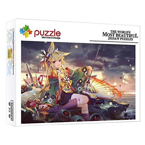 ZTCLXJ 1000 Teile Fotopuzzle Kollektion Für Erwachsene Kinder 1000 Teile Edle Puzzle Edler Motiv Schachtel Für Wanddekorationen Zu Hause Schlafzimmer 38 × 26 cm Anime Umbrella Character Girl