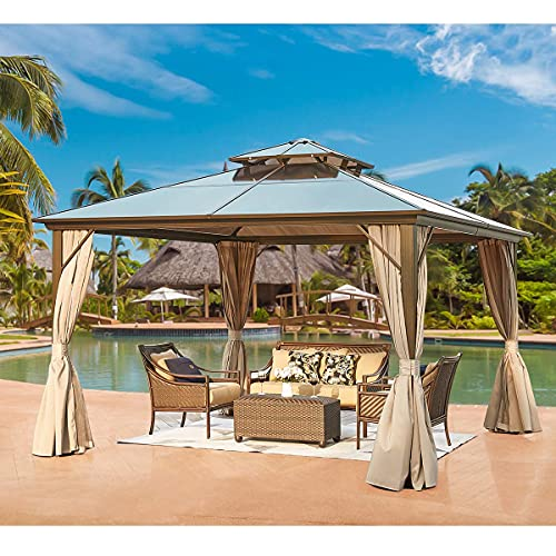 YOLENY 12'x12′ Outdoor Polycarbonate Double Roof Hardtop Gazebo Canopy Curtains Aluminum Frame with Netting for Garden,Patio