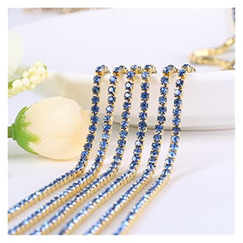 Cadena de copa de diamantes de imitación 1 yarda / pieza 19 colores Cristal de cristal Cadena de Rhinestone, fondo de oro cosido en las cadenas de la taza para bolsas de ropa de bricolaje Decoraciones