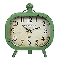 Truu Design Vintage Distressed Metal Oval Desk Clock, 8 x 9 inches, Green