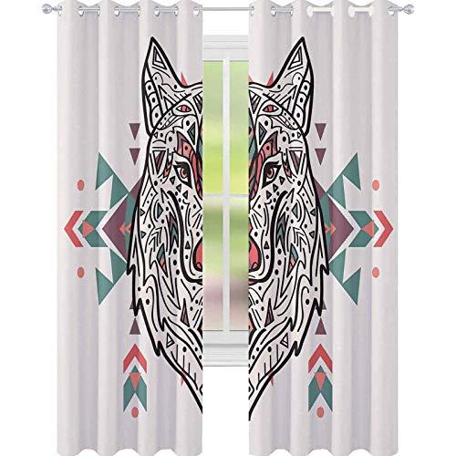 YUAZHOQI - Cortina de ventana tribal con diseño de león y cabeza de lobo con adornos de cachemira y cortinas personalizadas, 132 x 160 cm, color coral