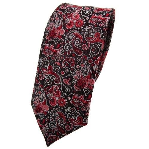 TigerTie - corbata estrecha - rojo burdeos rosa negro plata Paisley