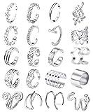 Milacolato 20Pcs Pendientes Ajustables Para el oído Pendientes Para Mujer Clip de Cartílago no Perforante de Acero Inoxidable en Conjunto de Pendiente de Envoltura