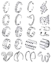 VARIOUS STYLES-- Come with 20Pcs Different Design Ear Cuffs, Perfect Cuff Earrings Set for Women; Flower Cuff Earrings, Personalized Cross X, Classic U Shape Dome, Trendy 3 Row Wrap, Hollow Cuff Earrings, CZ Cartilage Earrings, And Simple Wraps Inclu...