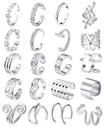 Jstyle 20Pcs Adjustable Ear Cuffs Earrings Set for Women Stainless Steel Non-Piercing Cartilage Clip On Wrap Earring Set