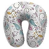 tyui7 Garabatos Patrón Floral Almohada en Forma de U Almohada de Cuello de Espuma de Memoria para Viajar y aliviar el Dolor de Cuello Almohadas cómodas de Cuello uterino