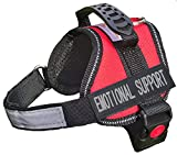 ALBCORP Emotional Support Dog Vest - Reflective Harness with Adjustable Straps and 2 Hook and Loop Removable Patches, Woven Polyester & Nylon, Comfy Mesh Padding, Sturdy Handle. XXS, Red