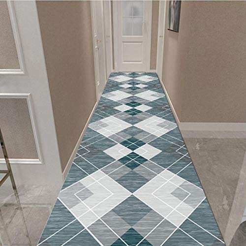 Grey Area Rug Runner Modern Distressed Non Slip Runner Rug with Geometric Design, Fade Resistant Living Room Hallway Entryway Home Decor (Color : B, Size : 120×500cm)
