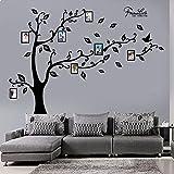decalmile Riesiger Familie Baum Wandtattoo Bilderrahmen Fotobaum Wandsticker DIY Entfernbarer Wandaufkleber Wohnzimmer Schlafzimmer Wanddekoration (Schwarzer)