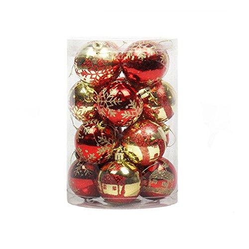 doublebulls décor 16 Pezzi Infrangibile Palline di Natale, Ciondoli Decorazioni Natalizie, Brillante/Luccichio, Rosso E Oro, 8Cm(3.2')