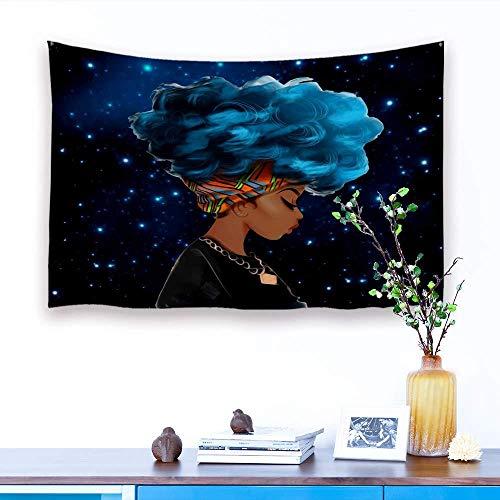 WAXB Tapiz Afro Africano Niña Negra Pelo Azul Tapete De Picnic, Toalla De Playa, Cortina, Mantel, Dormitorio, Habitación, Decoración del Hogar, Regalo, 51 X 59 Pulgadas