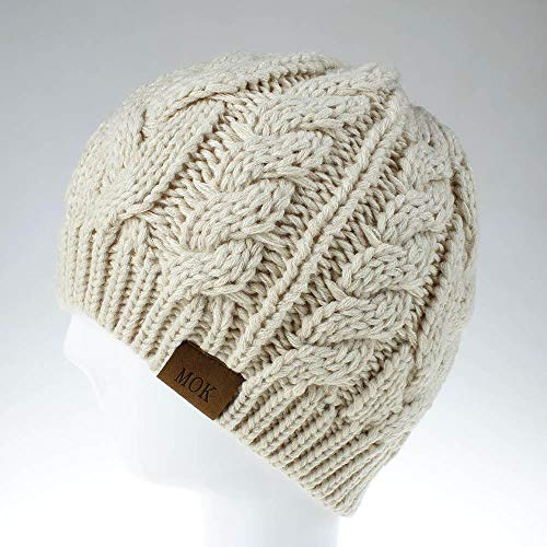 Mütze Beanie Hut Kappe Cap Beanie Soft Stretch Frauen Pferdeschwanz Mess Bun Beanie Schwanz Hut Winter Solid Ribbed Hat-Beige_One_Size