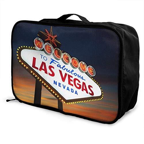Leichte, großvolumige, tragbare Lage-Tasche Faltbare, wasserdichte Reisetasche für Wochenendreisen für Damen und Herren, Willkommen im Las Vegas Sign