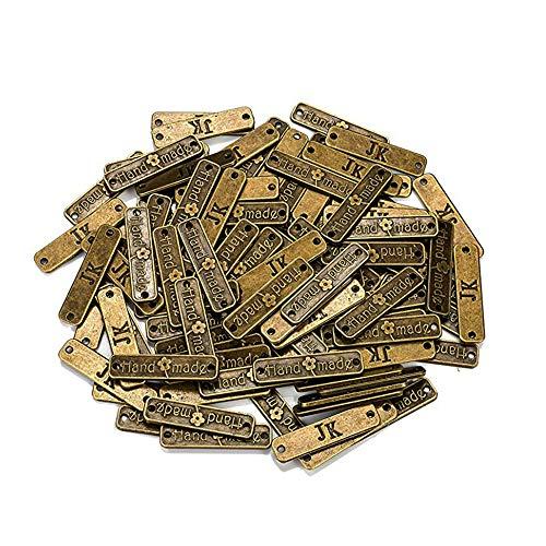 Guanici Etiqueta de metal hecho a mano Etiqueta hecha a mano de ropa Etiqueta hecha a mano con agujeros Diy artesanía joyería haciendo accesorios para jeans bolsos zapatos sombreros 100 piezas(Bronce)