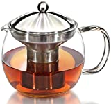 Teapot Kettle with Warmer - Tea Pot and Tea Infuser Set - Glass Tea Maker Infusers Holds 3-4 Cups...