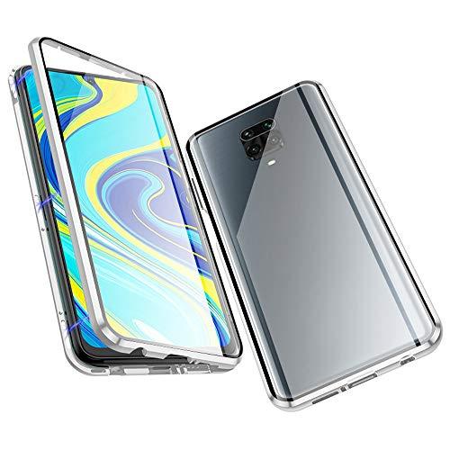 Cover per Xiaomi Redmi Note 9S /Note 9 Pro, Jonwelsy Adsorbimento Magnetico Paraurti in Metallo con 360 Gradi protezione Case Doppi lati Trasparente Vetro Temperato Flip Custodia per Note 9S (Argento)
