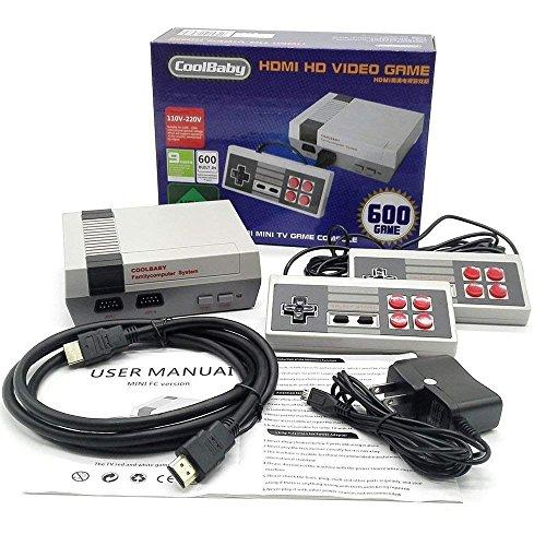 Retro famille mini console HDMI fournie avec deux poignées de commande - 600 jeux vidéo classiques intégrés