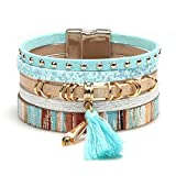 MallDou Jewelry Tree of Life Wrap Boho Leather Wide Cuff Handmade Wristbands Braided Magnetic Buckle Bangle Bracelet Gift for Women Girl (Tassels Blue)