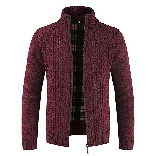 MERICAL Maglione Solido Bavero Casual da Uomo più Giacca Giacca Cardigan in Velluto Caldo(Rosso,XXX-Large)