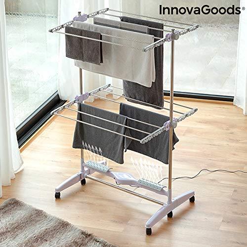 InnovaGoods Elektrischer Wäscheständer/Wäschetrockner, zusammenklappbar, Trocknung durch Luftstrom, 12Stangen, 24W, Weiß, 87x143x65cm
