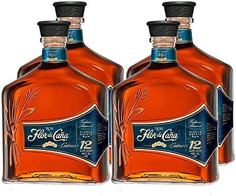 Ron Flor de Caña Centenario 12 años de 70 cl - DO Nicaragua - Bodegas Osborne (Pack de 5 botellas)