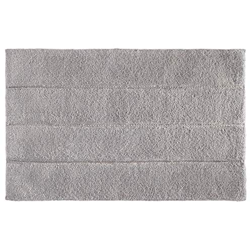 Price comparison product image iDesign Stripe Bathroom Mat,  Rectangle-Shaped Small Rug Made of Cotton,  Grey,  53.3 cm x 86.4 cm