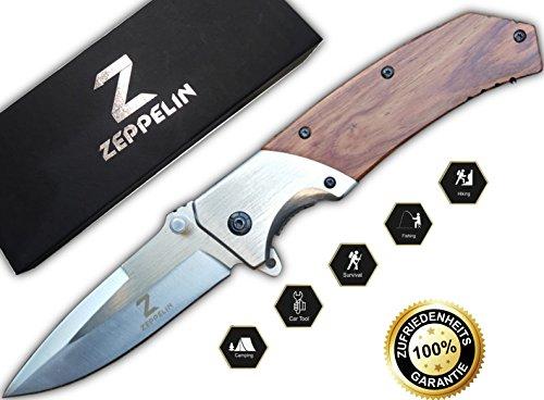 Zeppelin Outdoor-Messer | Scharfes Survival-Taschenmesser | idealer Begleiter für Freizeit, Angeln, Jagen, Campen | Qualitäts Klapp-Messer Jäger und Angler
