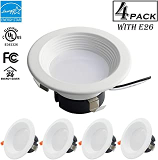 ECOELER 4inch Dimmable LED Recessed Retrofit Kit Downlight, 10.5W 3000K Retrofit Recessed Lighting