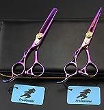 Lecc Tijeras de Corte de peluquería para Zurdos, Tijeras Adelgazamiento Profesional 5.5', Inoxidable Colorido, Ajustable, barbero Mano Izquierda hogar