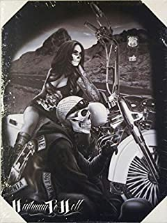 DGA Day of the Dead Ride or Die Biker Stretched Wood Frame Canvas Wall Art 12x16 Inches - Highway to Hell