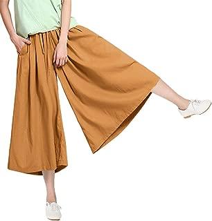 Soojun Women's Elastic Waist Cotton Linen Cropped Palazzo Pants Trouseres