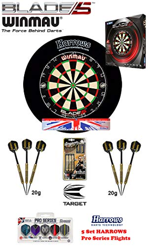 Winmau Blade 5 + Harrows Surround schwarz + 2 Set Adrian Lewis Darts + Abwurflinie + 5er Set Flights