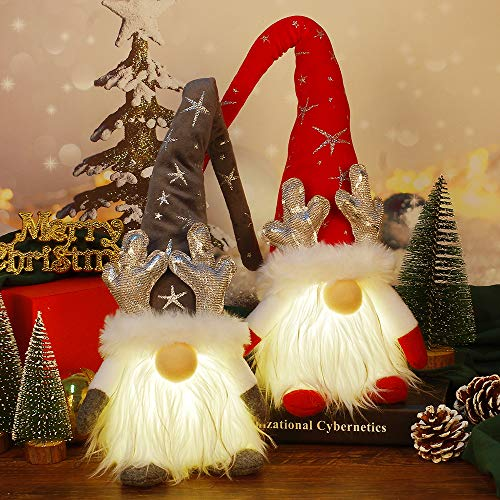 Christmas Gnomes Decorations with LED Light, 2 Pack Handmade Swedish Tomte Gnomes, Lighted Scandinavian Santa Elf Plush Table Ornaments, Xmas Holiday Winter Party Home Decor Gift