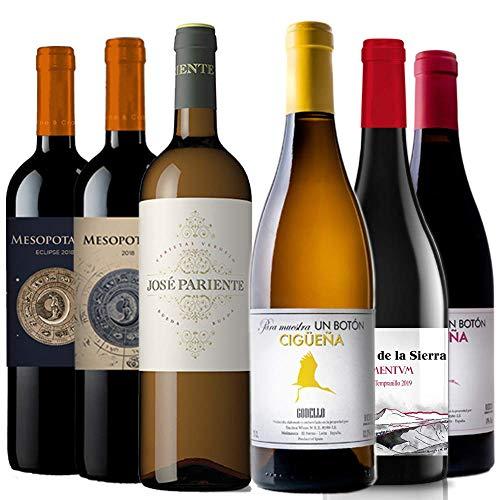 Pack de vino (6 bot x 0,75 L.) Lote de vino con 6 botellas de Vino Tinto y Blanco. Verdejo, Godello, Rufete, Tempranillo, Tinta de Toro. Lote de vino para regalo o para degustación con amigos.