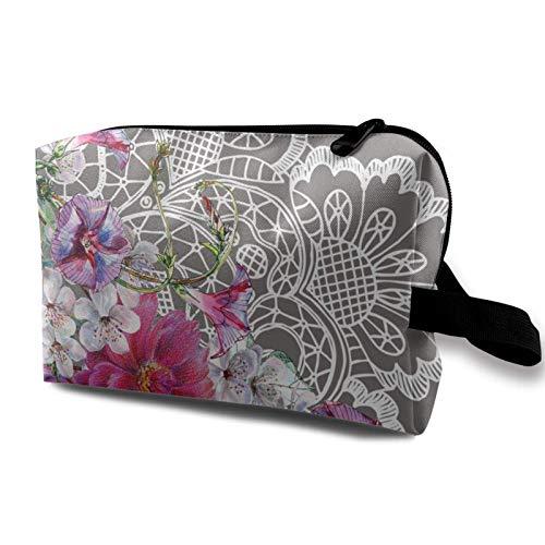 XCNGG Bolsa de almacenamiento de maquillaje de viaje, bolso de aseo portátil, pequeña bolsa organizadora de cosméticos para mujeres y hombres, flores, acuarela