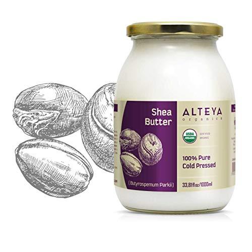 Alteya Bio Sheabutter 1000ml – 100% USDA Organic-zertifiziert Rein Natürlich Raffinierte Sheabutter (Butyrospermum Parkii)