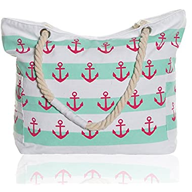 Extra Large Beach Bag - Water Resistant Zipper Top Beach Tote Bag for Women