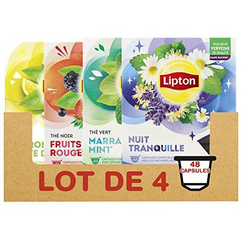 Lipton Assortiment de 4 Thés et Infusions en Capsules Dolce Gusto : Thé Vert Marrakech Mint, Thé Vert Citron, Thé Noir Fruit Rouges, Infusion Nuit Tranquille, x48 capsules