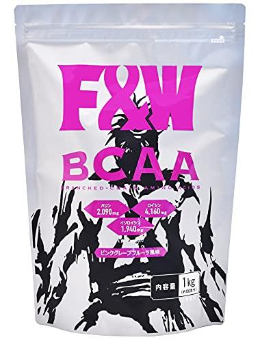 F&W(エフアンドダブリュー) BCAA 8190mg 必須アミノ酸 ピンクグレープフルーツ 1kg 100杯分 計量スプーン付き 国産 高配合 飲みやすい 筋トレ トレーニング