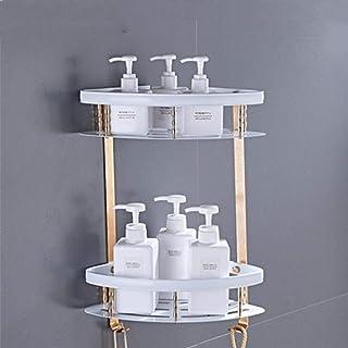 PAKUES-QO Etagères sans Perçage Etagères d'angle De Douche - Espace De Perforation Gratuit Trépied en Aluminium Or Blanc P...