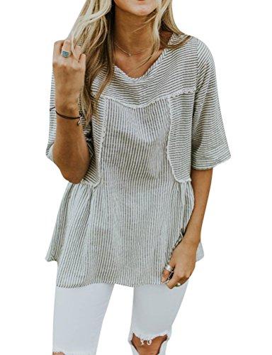 ZXZY Women Cute Crew Neck Half Sleeve Striped T Shirt Stripe Peplum Tops