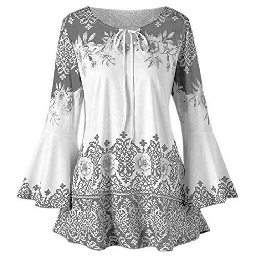 Shirt Damen Elegant Langarm Sexy V Ausschnitt Locker Blumendruck Bell Sleeve...
