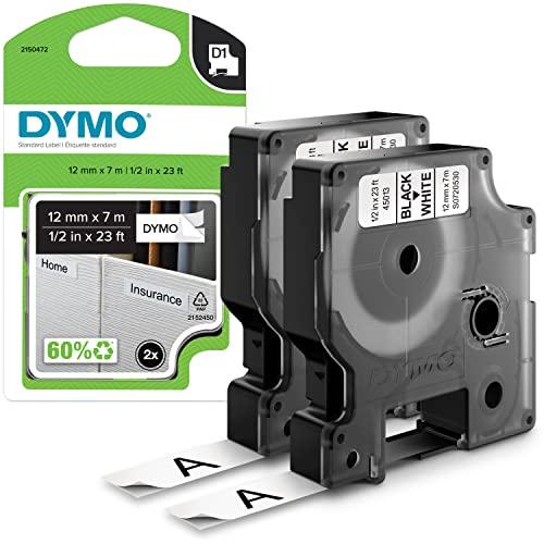 DYMO D1-Etikettenband Authentisch | schwarzer Druck auf weißem Untergrund | 12mm x 7m | selbstklebendes Schriftband | für LabelManager-Beschriftungsgerät | 2Stück