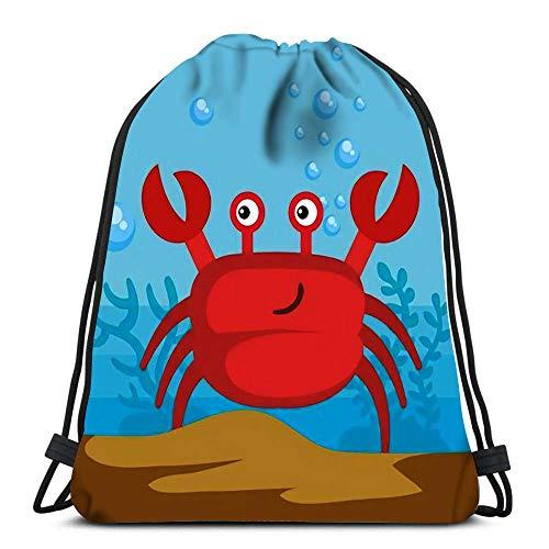 Lsjuee Backpack Drawstring Bag Sea Life Crab
