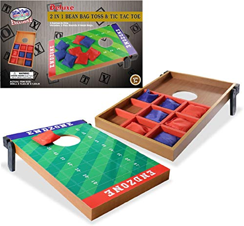 Mɑtty's Toy Stop Deluxe EndZone (20') 2-in-1 Cornhole Bean Bag Toss & Tic Tac Toe Portable Game Set